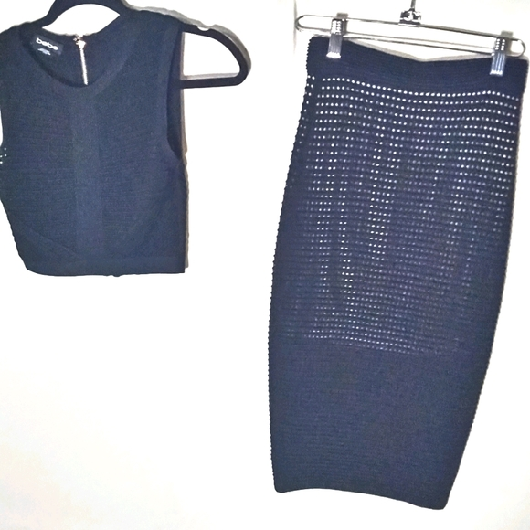 bebe knitted skirt and crop top sleeveless